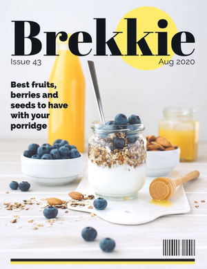 Breakfast Magazine Cover with Blueberries and Granola Magazine Cover for Vogue