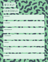 Green and Blue Personal Weekly Planner with Pattern Rooster