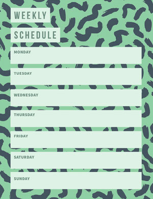 Green and Blue Personal Weekly Planner with Pattern Planificateur