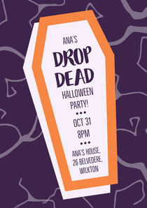 Purple and Orange Halloween Party Invitation Card Scary