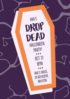Drop Dead Halloween Coffin Party Invitation Halloween Party Invitation
