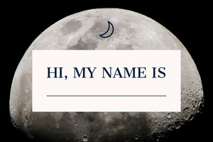 Moon Halloween Costume Party Name Tag Etiqueta de nome