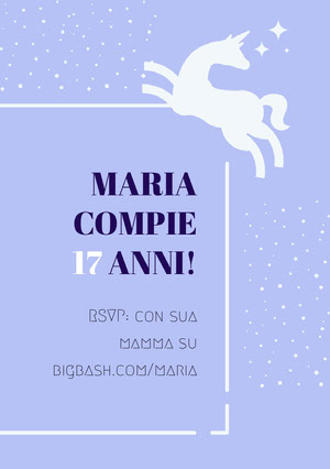 white stars and purple unicorn birthday cards Biglietto di auguri con unicorno