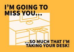 Yellow, White and Black Farewell Work Card Jokes