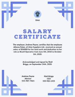 Blue Frame Business Salary Certificate Frame
