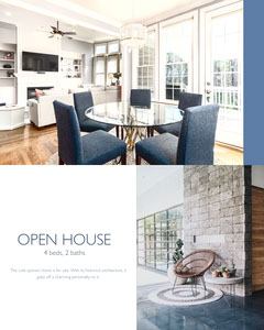 Blue, Bright Toned Open House Ad Instagram Portrait House For Sale Flyer