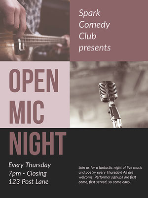 Purple and Grey Open Mic Poster Comedy Show and Movie Poster