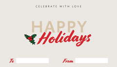 Red and Beige Happy Holidays Gift Tag Celebration