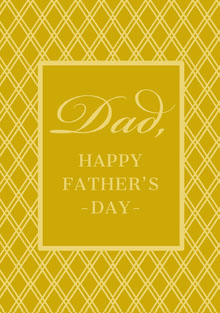 Elegant Yellow and Gold Fathers Day Card with Pattern Cartões de Dia dos Pais