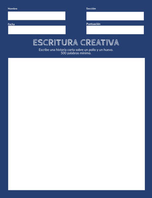 creative writing worksheet  Hoja de cálculo