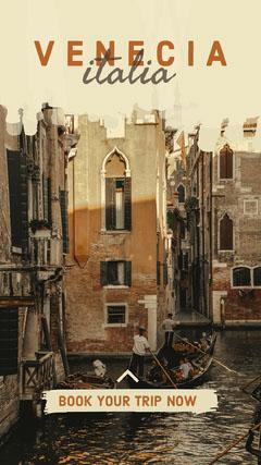 Sepia Toned, Venecia Trip Booking Ad, Instagram Story Italy