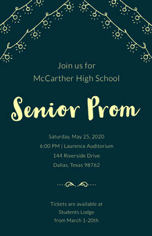 Yellow and Green High School Prom Poster School Posters