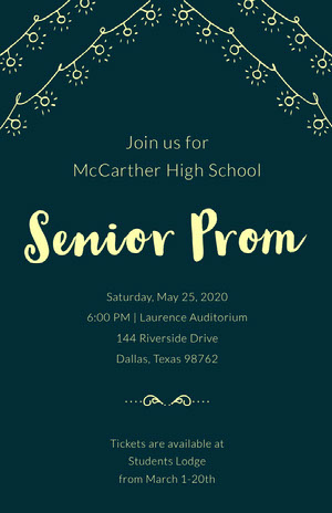 Yellow and Green High School Prom Poster Prom Posters