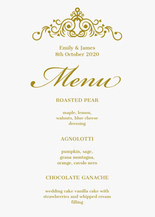 Gold Ornate Elegant Wedding Menu Menu bruiloft