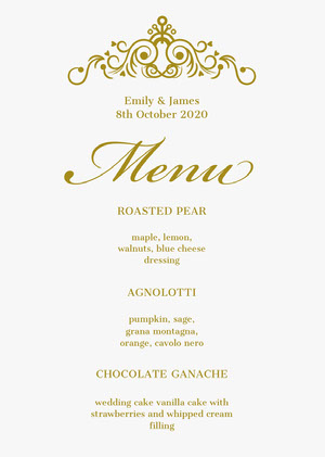 Gold Ornate Elegant Wedding Menu Menü