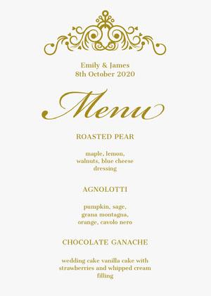 Gold Ornate Elegant Wedding Menu Menu