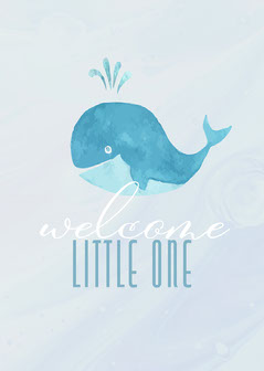 Whale Welcome Little One Virtual Card Welcome Poster