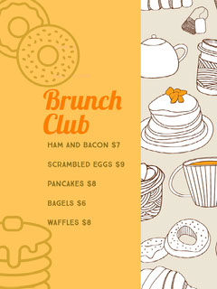 Grey and Orange Brunch Club Menu Brunch