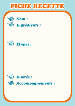 Orange And Blue Recipe Card Fiche de recette