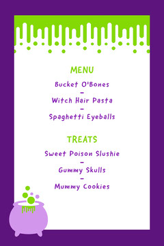 White and Violet Slime Halloween Party Schedule Copy Halloween Party Menu
