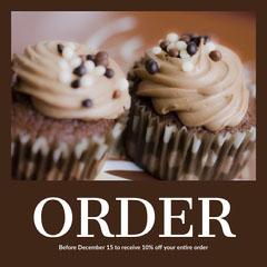 Brown Toned Cupcake Order Ad Instagram Post Cupcake