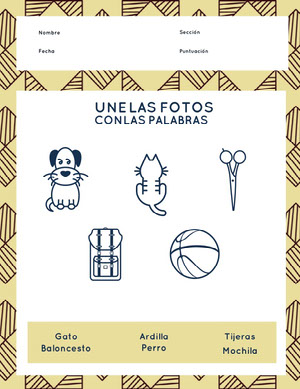 matching pictures with words worksheet  Hoja de cálculo