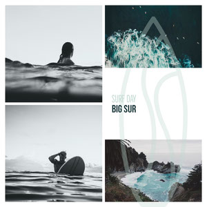 Cyan Big Sur Surf Day Instagram Square Graphic with Collage of Surfers and Landscapes Photo Collage for Facebook