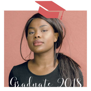 Graduation Announcement Square Instagram Graphic with Woman with Mortarboard Graduation Announcement