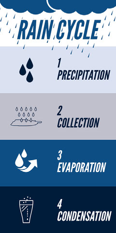 Blue Water Cycle Infographic Water