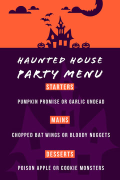 Purple and Orange Haunted House Halloween Party Menu Halloween Party Menu