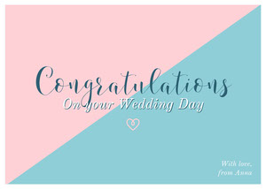 Pink and Blue Calligraphy Wedding Congratulations Card Glückwunschkarte