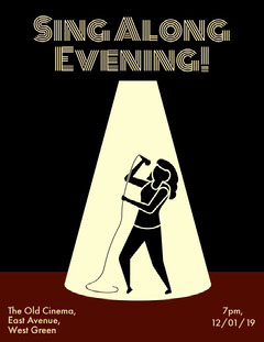 Black Illustrated Karaoke Event Poster with Woman Singing Karaoke Flyer