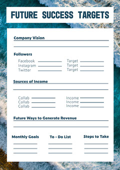 blue navy white influencer success goals and targets a4 Instagram Flyer