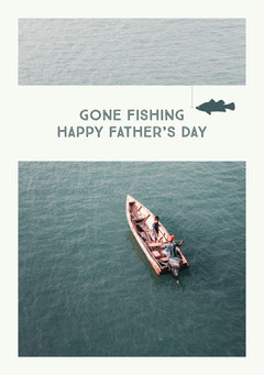 White and Lake at Background Father's Day Card Boats