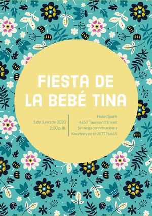 floral patterned baby shower invitations  Invitación de fiesta de nacimiento