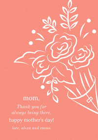 Orange Mothers Day Card with Bouquet Thank You Messages