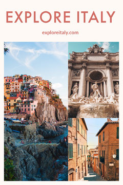 Italy Travel and Tourism Pinterest Graphic with Collage Travel