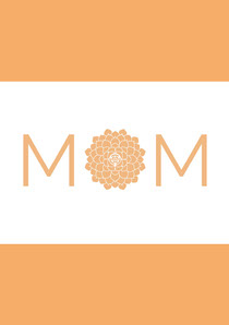 Orange Minimalist Mothers Day Card Mother's Day Card