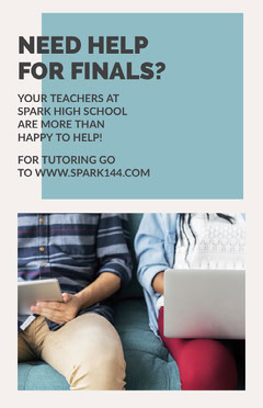 Light Toned, School Final Exams Help Poster  Tutor Flyer