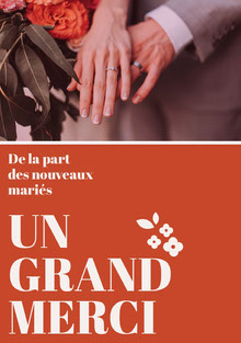 orange wedding thank you cards  Carte de remerciement de mariage