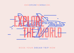 Pink and Blue, Travel Agency Ad, Flyer Travel Agency