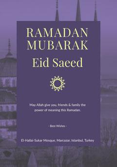 Violet and Yellow Ramadan Mubarak Flyer Eid Mubarak