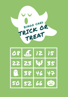 White and Green Ghost Trick Or Treat Halloween Party Bingo Card Halloween Party Bingo Card