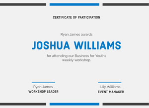 Blue, Light Toned, Certificate of Participation Document Certificate of Participation