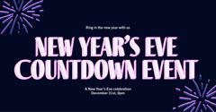 Purple & Navy New Years Countdown Instagram Landscape Fireworks