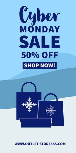 Blue and White, Light Toned Cyber Monday Sale Ad, Instagram Story  Crea i tuoi annunci per il Cyber Monday