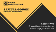 Yellow & Black Triangles Contractor Business Card Construction