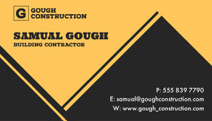 Yellow & Black Triangles Contractor Business Card Tarjeta de identificación