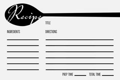 Black Spoon Blank Recipe Card Cooking