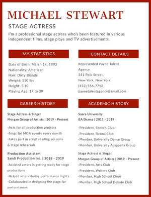 Red Stage Actress Resume Curriculum per attori